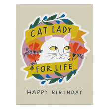 Load image into Gallery viewer, Cat Lady for Life Birthday Sticker Card