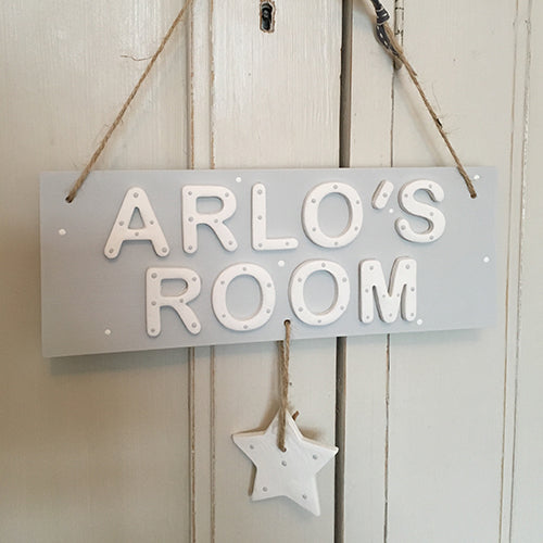 Personalised Grey Star Room Sign - Florence and Grace Personalised Gifts