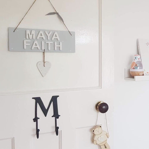 Personalised Name Sign Door Plaque With Grey Spot Heart - Florence and Grace Personalised Gifts