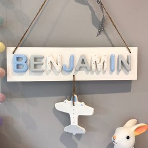 Personalised Aeroplane Name Sign - Florence and Grace Personalised Gifts