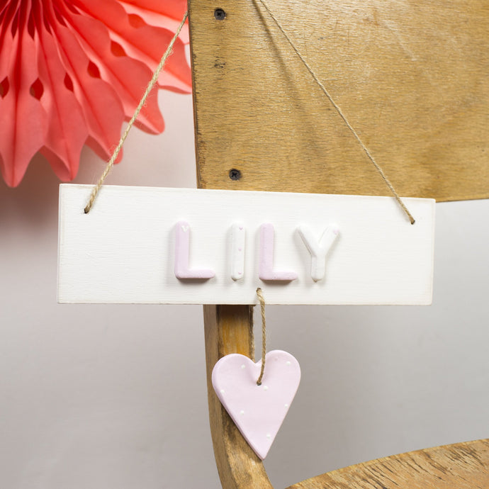 Personalised Polka Dot Heart Name Sign - Florence and Grace Personalised Gifts