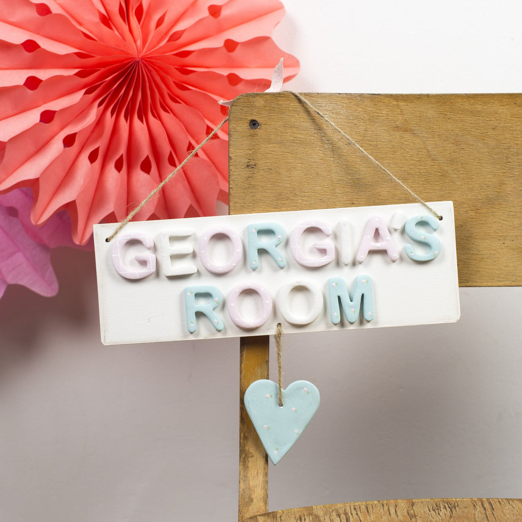 Personalised Rose Heart Room Sign - Florence and Grace Personalised Gifts
