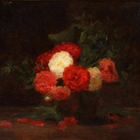 "Toussaint, Fernand (Belgian)- Still life, carnations"" Oil on Canvas"