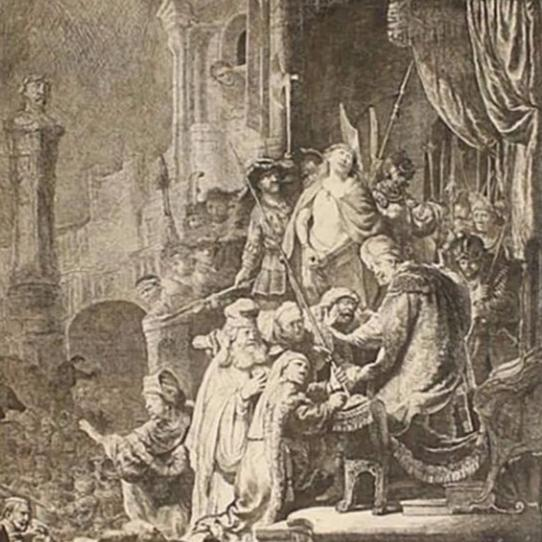 "Armond Durand Etching After Rembrandt -"" Christ and Pontius Pilate"""