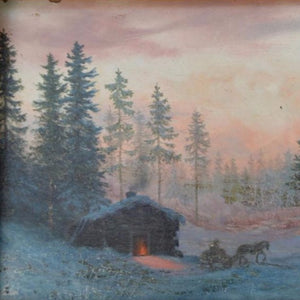 "Krieghoff, Cornelius (Canadian)  - ""Sunset Winter Scene"" Oil on academy board"