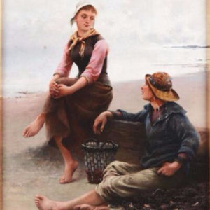 "Hagborg, August (Swedish) - ""Young couple by the sea"" Oil on canvas"
