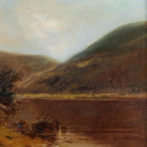 "Diehl, Arthur (American)  -"" River landscape with hills "" oil on canvas"