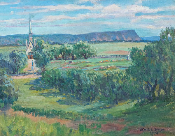 "Smith, Lewis (Canadian)-"" Memorial church and park"" Oil on canvas"