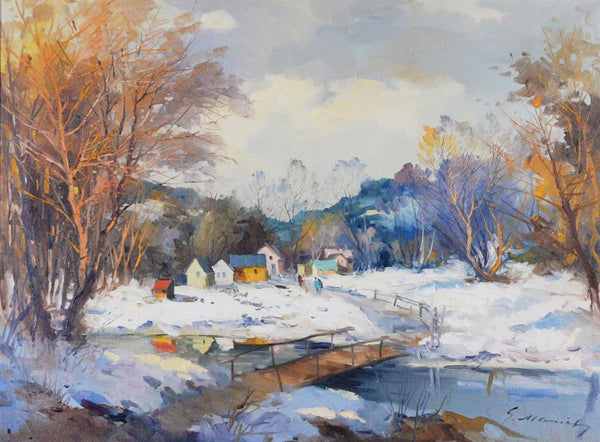 "Marich, Gordon (Canadian) - ""The old bridge in the snowmelt"" Oil on canvas"