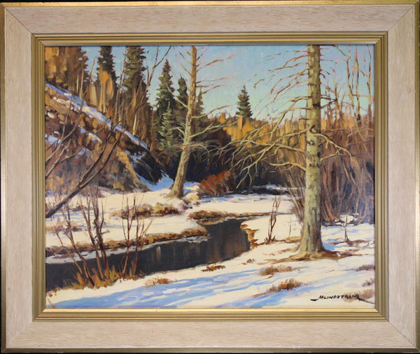 "Lindstrom, Matt (Canadian) - ""Winter river landscape"" Oil on canvas"