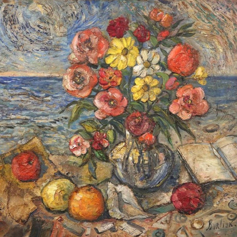 "Burliuk, David (Ukranian/ American) -""Flowers and Book by the Sea"" , Oil on panel"