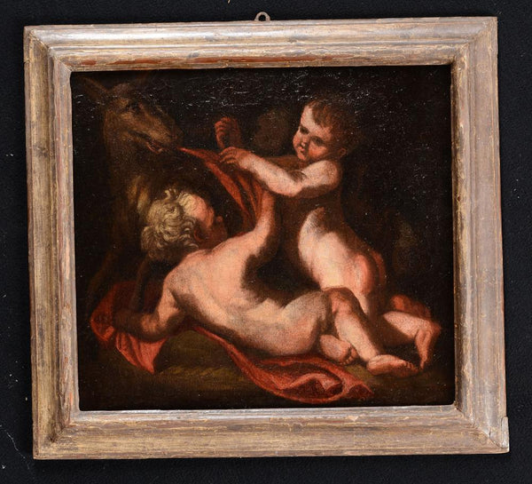 "18th century school - ""Romulus and Remus"" oil on canvas"