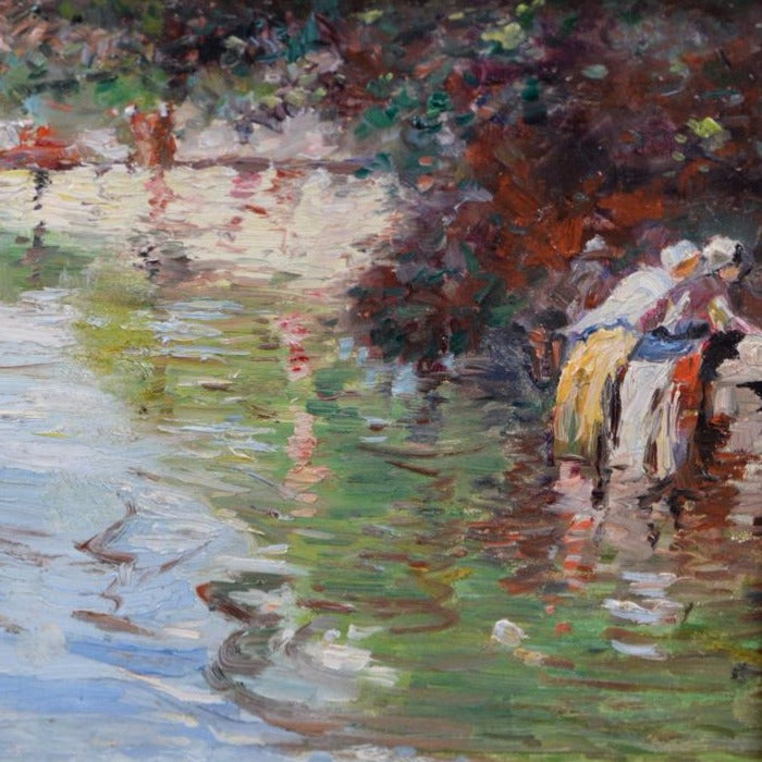 "French School - "" The Washerwomen"" Oil on panel"