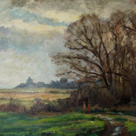 "Knauth, Arnold (American)-""Landscape with figure"" Oil on board"