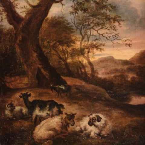 "Haarlem, Jan (Dutch)   - "" Landscape with Sheep and Goats"" Oil on panel"