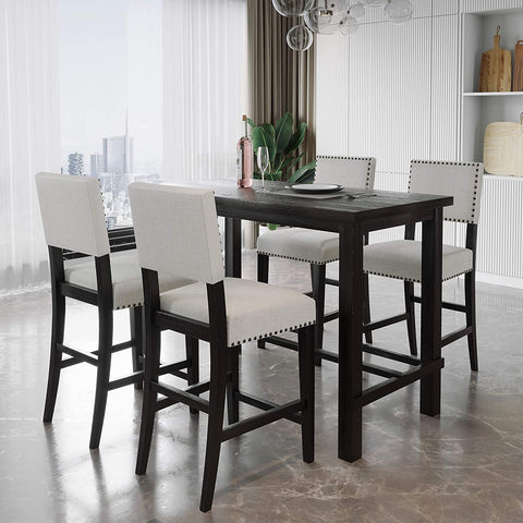 Merax Counter table with four cushioned counter chairs