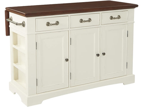 OSP Home Furnishings Country Kitchen Island, Distressed White