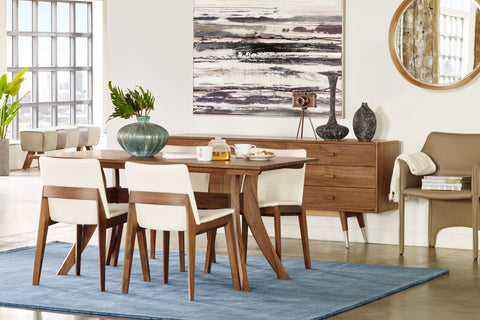Florence Rectangular Dining Table Small. Walnut Wood Dining Table. Flared leg design with supportive, full-length crossbar under the tabletop