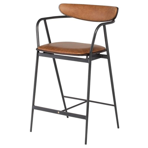 Gianni Counter Stool - Leather and Iron Legs