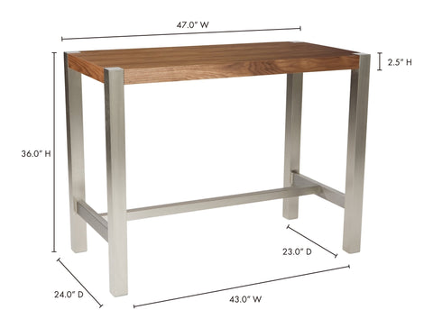 Riva Counter Table. Rectangular shape. Solid metal legs. Reinforcement cross stretcher(s) double as a footrest. Seats 4 comfortably. Color: Walnut. Style: Contemporary, Modern. Dimensions.