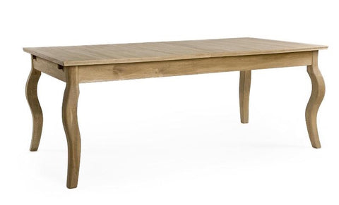 Wood Dining Table. Oak Dining Table. Rectangular Dining Table. -Extendable Leaf, seats up to 8 people -Curved Legs -Style: Farmhouse, Countryside, Rustic Chic. Natural Finish.