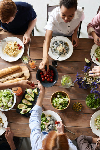 People eating healthy on a dining table