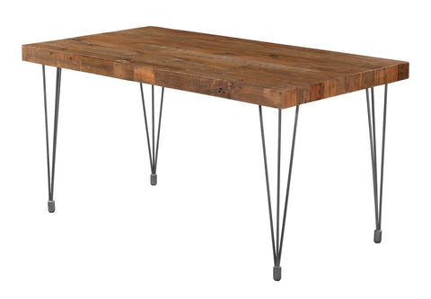 Boneta Rectangular Dining Table Small. Made of solid pine wood and iron, it has industrial post legs. Fits 4 people. Angle View.