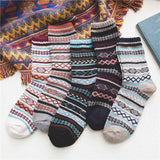 Mens Winter Socks Retro Exotic Knitted Warm Soft Wool Socks 5 Pairs Gift
