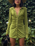 Women's Sexy Pleated Turn-down Collar Lone-sleeve Button Blouse Mini Dress - CHALIER