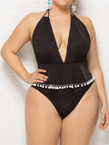 Plus Size One-piece Swimsuit Tassel Ball Backless Deep V-Neck Halter Swimwear