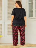 Women's Plus Size Loungewear Cute Red Lips Pajamas Short Sleeve Pants