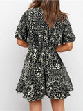 Women's Sexy Printed Deep V-neck Short-sleeved A-line Mini Dress - CHALIER