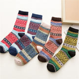 Chalier Mens Casual Crew Wool Electric Ripple Socks 5 Pairs