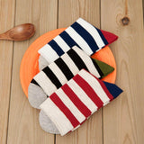 Mens Casual Crew Cotton Socks Stripes Pattern Socks Set 5 Pairs - CHALIER