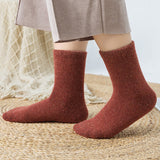 Womens Winter Thickened Knitted Crew Cotton Socks 5 Pairs