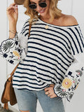 Women's Fashion Top Casual Striated Embroidered Shirt