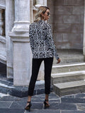 Ladies Preinted Slim-Fit Long Sleeve Blazer - CHALIER