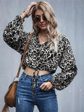 Ladies Leopard printed Tie Front Crop Top - CHALIER