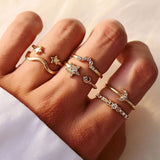 Female Fashionable Rings Woman Design Moon Gold Jewelry Set