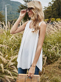 Women Solid Sleeveless Top Lace Loose Casual Tank Top - CHALIER