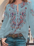 Women Floral Printed Loose Long Sleeve Blouse