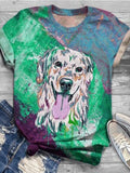 Women Dog Printed Crew Neck Short Sleeve T-Shirt