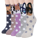 Women Cute Animal Socks Colorful Polka Dots Soft Cotton Socks 5 Pairs