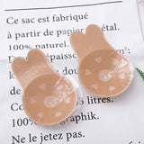 Womens Invisible Push Up Rabbit 2 Pairs Bra Backless Strapless Lifting Silicone - CHALIER
