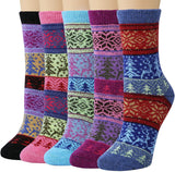 Womens Thick Knit Vintage Bright Socks Winter Warm Wool Socks 5 Set - CHALIER