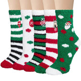 Fuzzy Socks for Women Warm Cozy Slipper Socks Fluffy Socks Christmas 5 Pairs