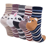 Women Cute Animal Socks Colorful Stripes Soft Cotton Socks Set