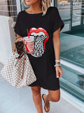 Women's Casual T-Shirt Mini Dress Crew Neck Lips Prints Short Sleeve