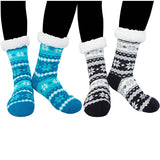 Womens Winter Snow Slipper Socks Fuzzy Cozy Socks Blue/Black