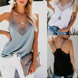 Women V Neck Spaghetti Lace Paneled Summer Tops - CHALIER